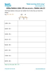 Worksheets for kids - adding-under-100-number-line