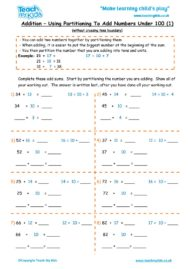 Worksheets for kids - addition-partition-nos-under-100-1