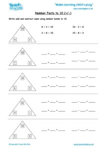 Worksheets for kids - number-facts-to-10-+-