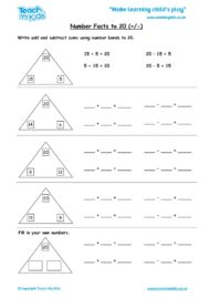 Worksheets for kids - number-facts-to-20-+-