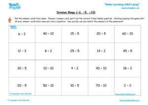 Worksheets for kids - division-bingo-2-5-10
