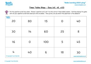Worksheets for kids - times-tables-bingo-easy-x2-x5-x10
