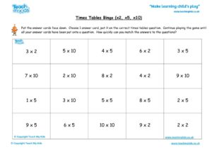 Worksheets for kids - times-tables-bingo-x2-x5-x10