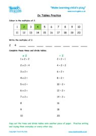 Worksheets for kids - x2-tables