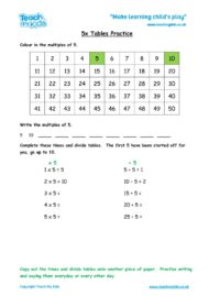 Worksheets for kids - x5-tables
