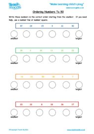 Worksheets for kids - ordering-nos-to-50