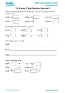 Worksheets for kids - partitioning-2-digit-nos-tu