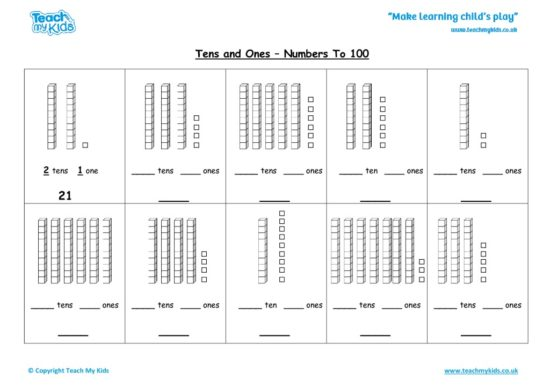 Worksheets for kids - tens-and-ones-nos-to-100