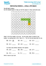 Worksheets for kids - subtracting-numbers-using-a-hundred-square