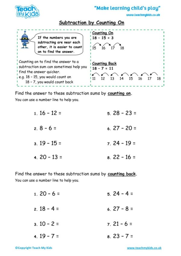 Worksheets for kids - subtraction-by-counting-on