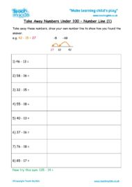 Worksheets for kids - take-away-under-100-number-line1