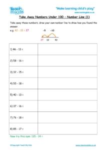 Worksheets for kids - take-away-under-100-number-line1