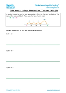 Worksheets for kids - take-away-using-number-line-tu-1