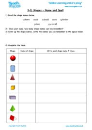 Worksheets for kids - 3d_shapes-_name_and_spell