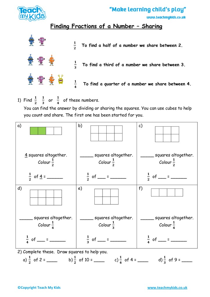 Maths Workbook 2 78 Years TMK Education – Finding Fractions of Numbers Worksheets