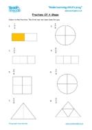 Worksheets for kids - fractions-shape