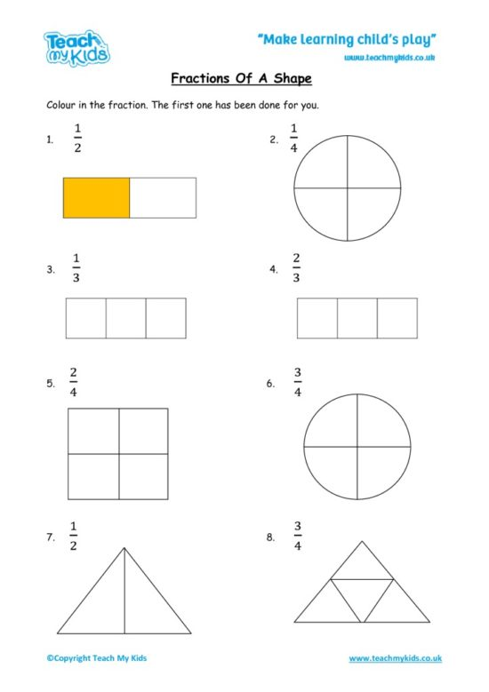 Worksheets for kids - fractions-shape