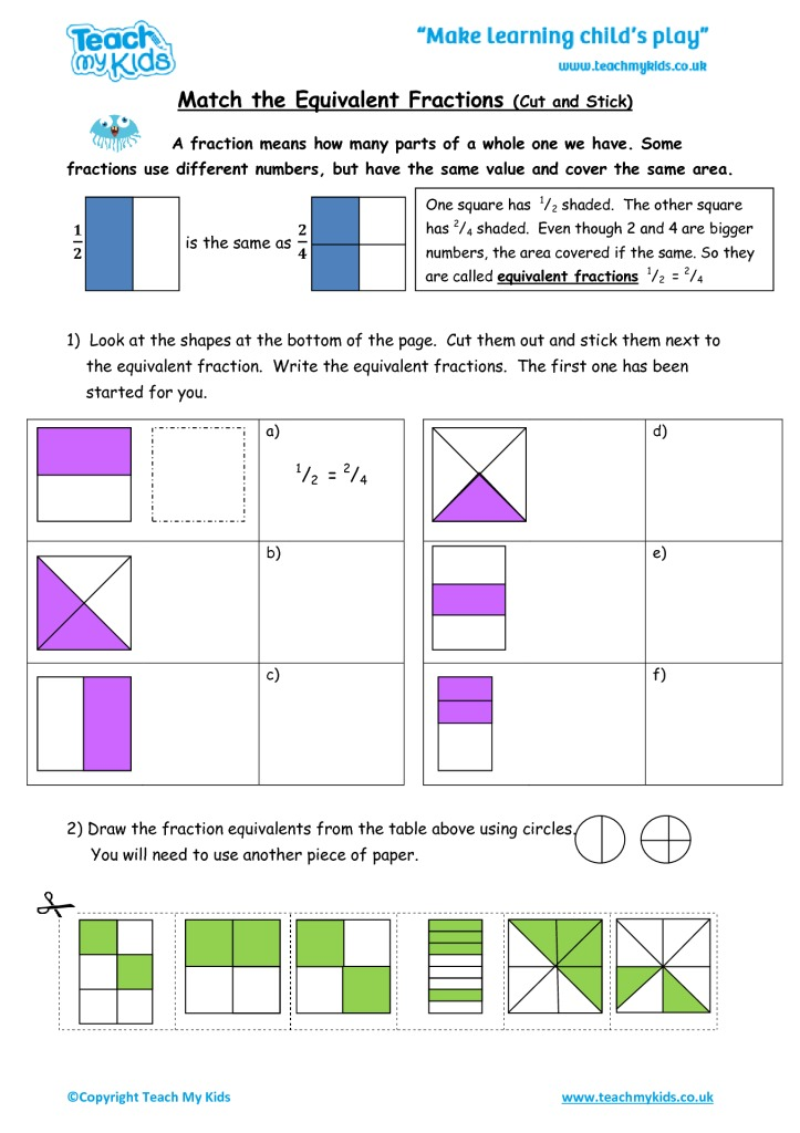 Match The Equivalent Fractions Cut And Stick Tmk Education. Match The Equivalent Fractions Cut And Stick. Worksheet. Equivalent Fractions Match Up Worksheet At Clickcart.co