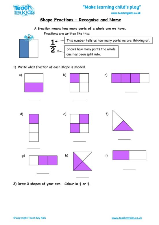 Worksheets for kids - shape_fractions_-_recognise_and_name
