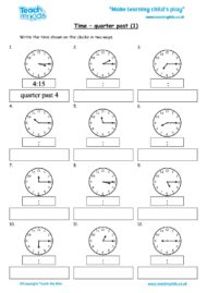 Worksheets for kids - time-quarter-past-1