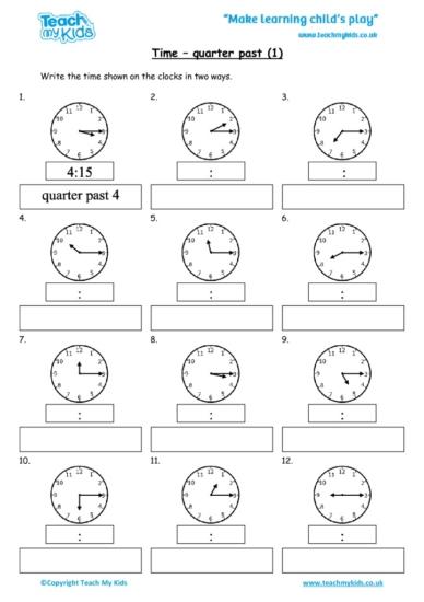 Worksheets for kids - time-quarter-past-1