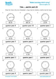 Worksheets for kids - time-quarter-past-2