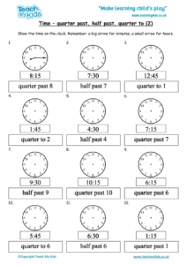 Worksheets for kids - time-quarter-past-to-half-past-2