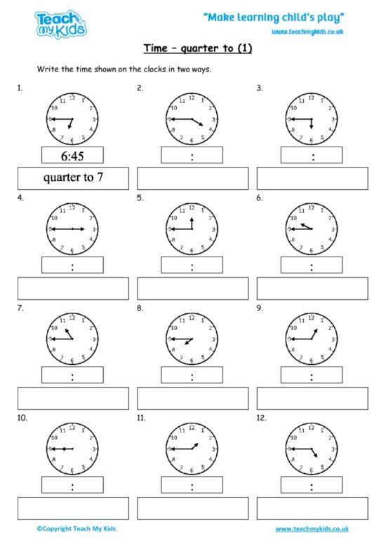 Worksheets for kids - time-quarter-to-1