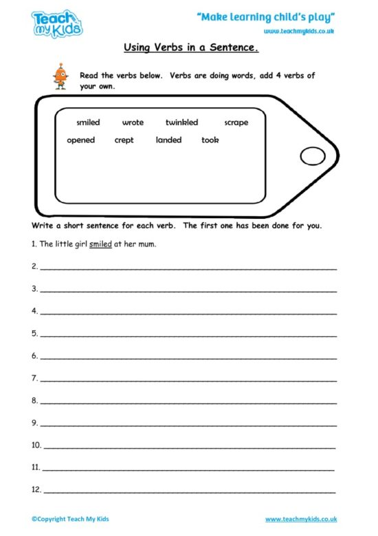 Worksheets for kids - using-verbs-in-a-sentence