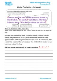 Worksheets for kids - missing punctuation – paragraph