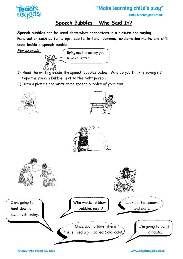 Speech Bubbles Who Said It Tmk Education