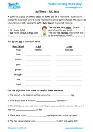 Worksheets for kids - suffixes-ful-less