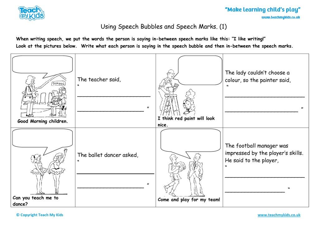 Using Speech Bubbles and Speech Marks (1)