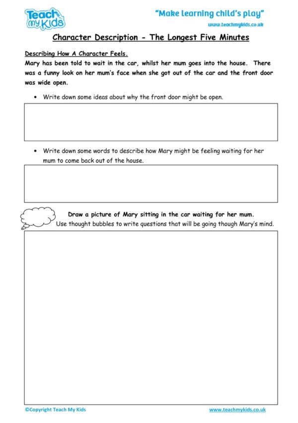 Worksheets for kids - character-description-the-longest-five-minutes