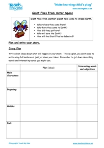 Worksheets for kids - giant flies from outer space
