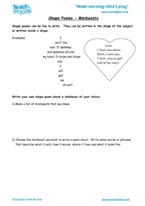 Worksheets for kids - shape-poems
