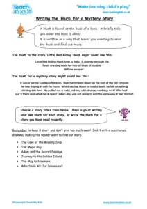 Worksheets for kids - writing_the_blurb_-_mystery_story
