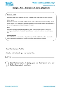 Worksheets for kids - design-a-nonfiction-book-cover-mountains