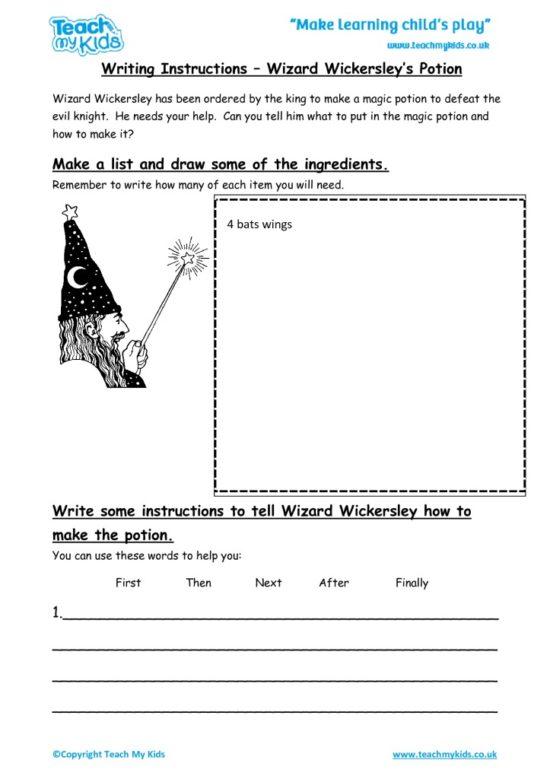 Worksheets for kids - writing-instructions-wizard-wickersleys-spell