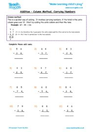 Worksheets for kids - addition_-_column_method,_carrying_numbers