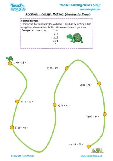 Worksheets for kids - addition_-_column_method,_hometime_for_tommy