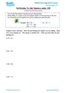 Worksheets for kids - partitioning to add nos under 100