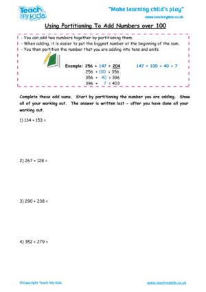 Worksheets for kids - using partitiong to add nos over 100