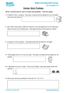 Worksheets for kids - division-word-problems