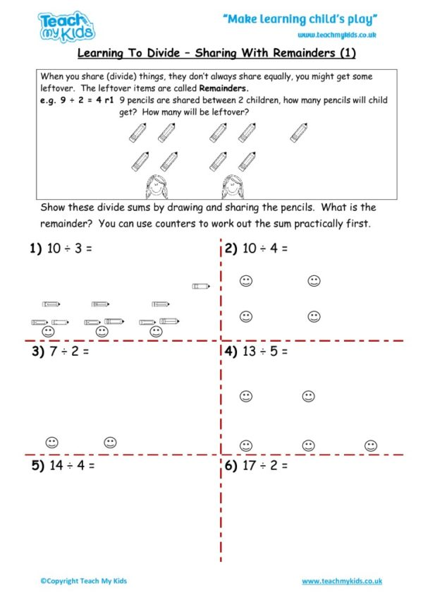 Worksheets for kids - learning-to-divide-sharing-with-remainders-1