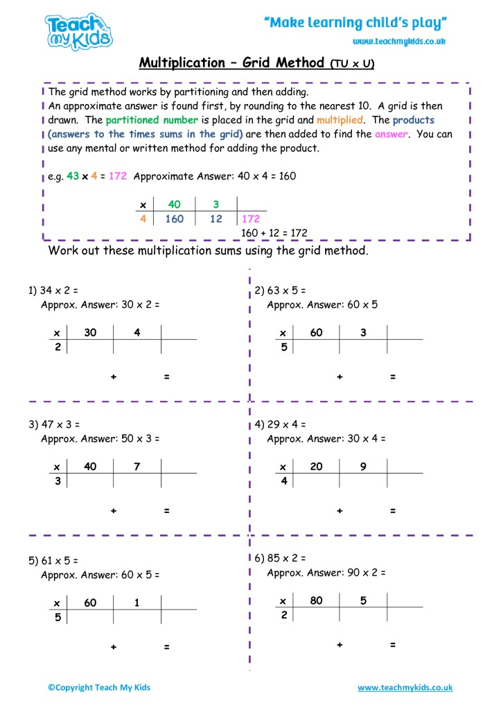 multiplication grid method tu x u tmk education. Black Bedroom Furniture Sets. Home Design Ideas