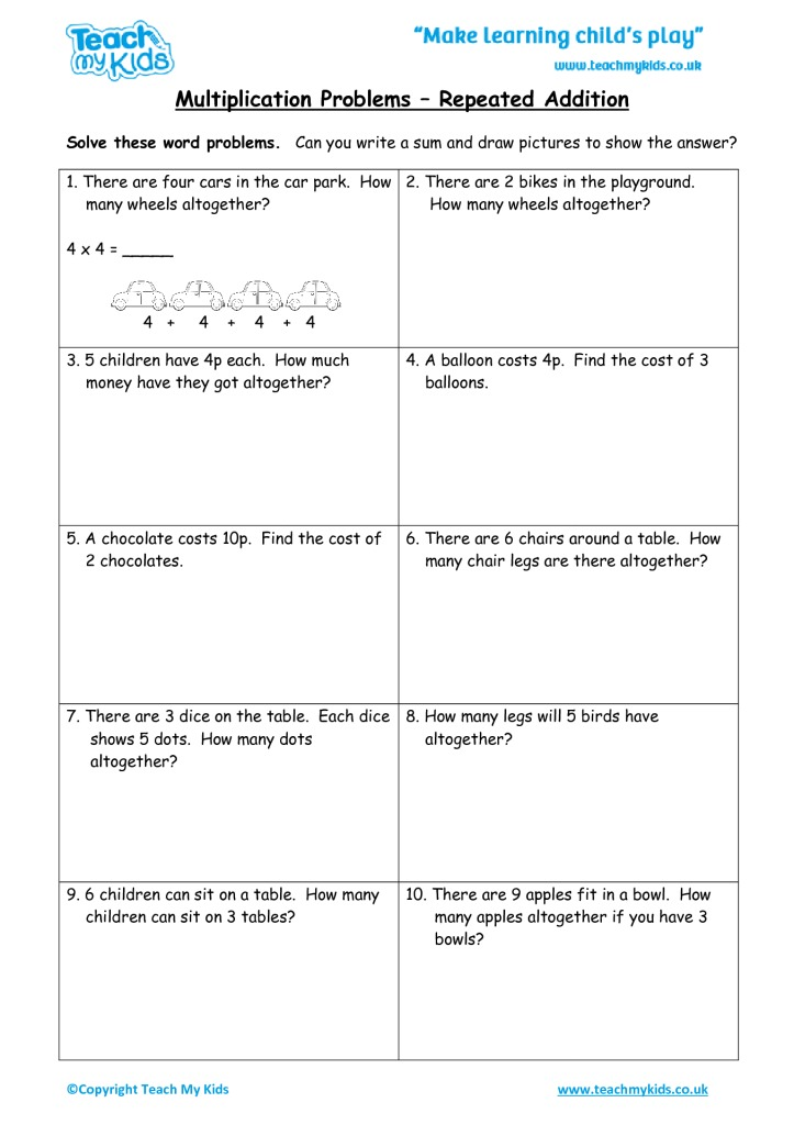 Multiplication problems repeated addition tmk education worksheets for kids multiplication problems repeated addition ibookread PDF