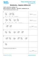 Worksheets for kids - multiplication-repeated-addition-x4