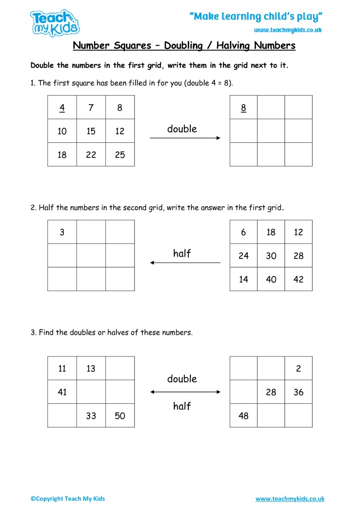 Number Squares - Doubling / Halving Numbers - TMK Education