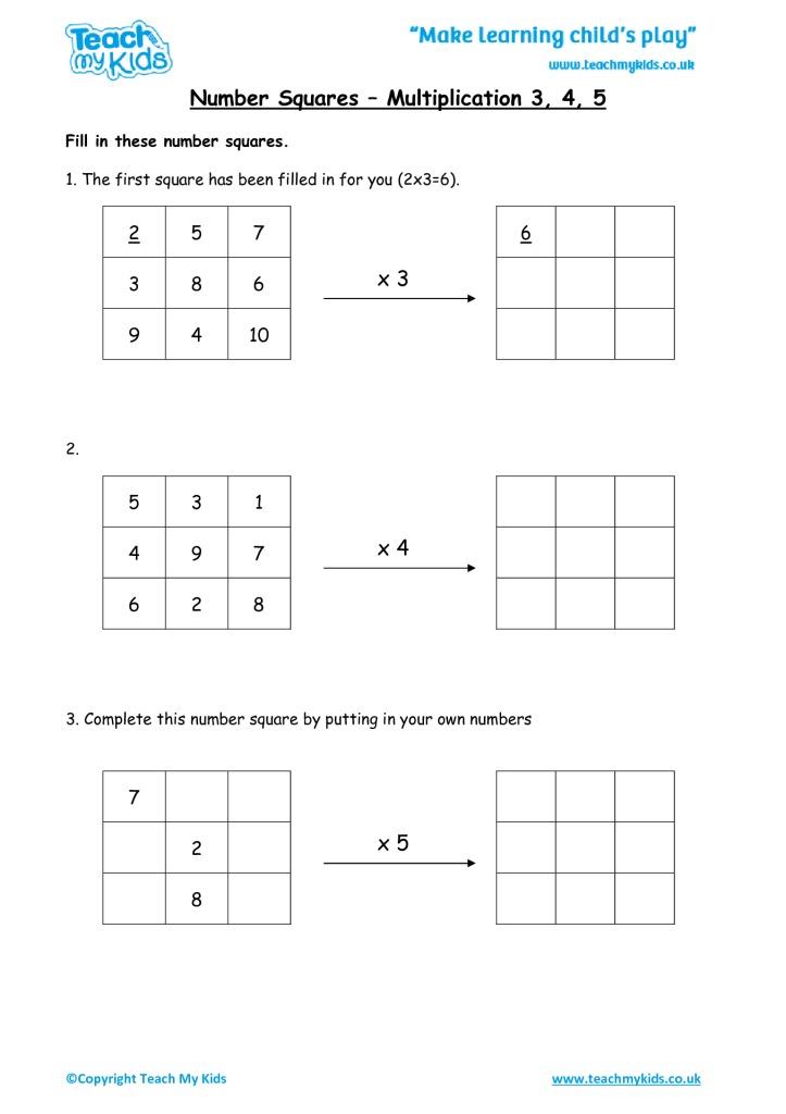 number squares multiplication 3 4 5 tmk education. Black Bedroom Furniture Sets. Home Design Ideas
